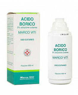 ACIDO BORICO MARCO VITI 3% SOLUZIONE 500ml Disinfettante per ustioni minori e aree cutanee irritate o screpolate, 500 ml