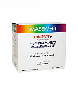 MASSIGEN - DAILYVIT+ 24 bs Multivitaminico multiminerale 12 vitamine 11 minerali senza zuccheri 24 bs