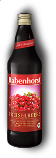 RABENHORST - COWBERRY PURE JUICE - 330 ml 100% succo di mirtillo rosso biologico made in Germany, 330 ml