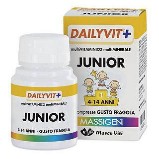 MASSIGEN - DAILYVIT+ JUNIOR 40 cpr Multivitaminico e multiminerale 4-14 anni, 40 cpr da 1,3 g gusto fragola