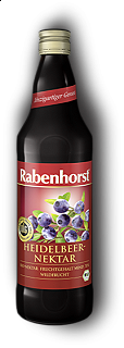RABENHORST - BLUEBERRY NECTAR - 750 ml Puro succo Bio di mirtilli da prima spremitura made in Germany, 750 ml