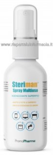 Steriman Gel - Spray igienizzante Multiuso 100ml Alta base alcolica 75% - ADATTO SU TUTTE LE SUPERFICI
