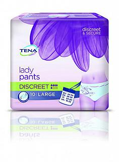 TENA LADY PANTS DISCREET 10 LARGE